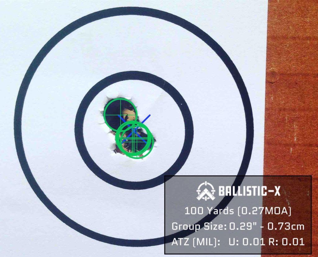 Paper target 5 shot 0.27 moa Group